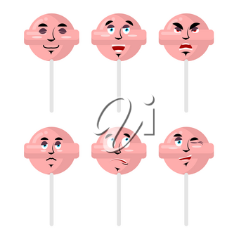 Emotions lollipop. Set expressions avatar candy. Good and evil. Surprise and fun. Sad and aggressive sweetmeats