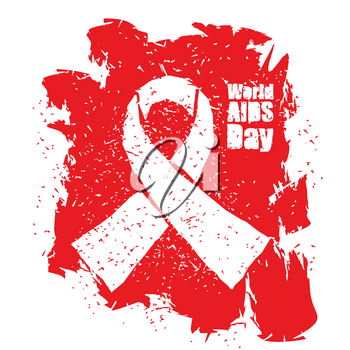 World AIDS Day emblem. Red ribbon in grunge style logo. Spray and scratches. Noise and brush strokes. Awareness of AIDS. Poster template concept for international event on December 1
