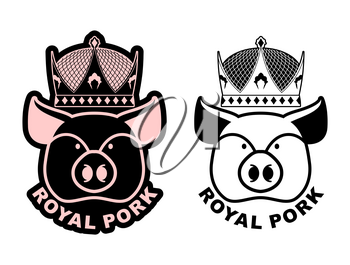 Royal pork emblem. Pig in crown. Logo for farming and meat production. Excellent quality and taste of food. Delicacy for emperor. Royal bacon.