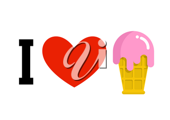 I love ice-cream. Cold dessert and heart. Logo for sweet tooth