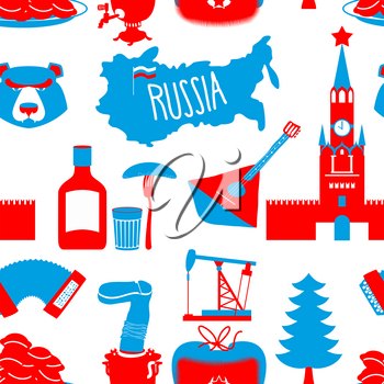 Russian symbols seamless pattern. Russia national ornament. State traditional background. Moscow Kremlin and bear. Map of Russia and samovar. Earflaps and balalaika. Dumplings and vodka. dumplings and