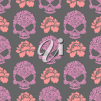 Flower skull seamless pttern. Skull of pink flowers and roses ornament. Beautiful flora texture
