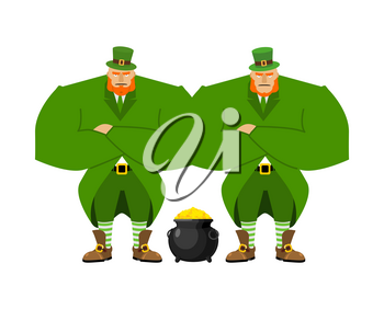 Leprechaun security bodyguard. Dwarf with red beard guarding pot gold coins. Legendary treasures for lucky. St.Patrick 's Day. Holiday in Ireland