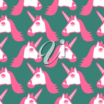 Unicorn seamless pattern. Head of fantastic animal background. Magic beast texture