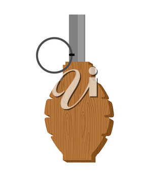Wooden training grenade toy isolated. Kids army