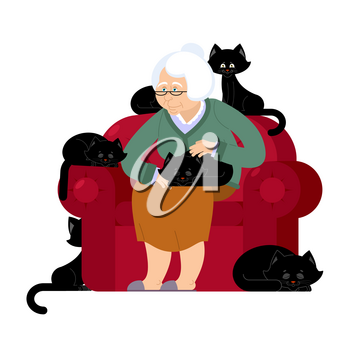 Grandmother and cat sitting on chair. granny cat lady. grandma and pet. old woman and animal. gammer and Beast