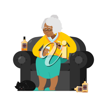 African American Grandmother drinks alcohol Smoke cigar. old woman in an armchair with bottle Whiskey. grandma and cat. Brandy and Tequila Glass