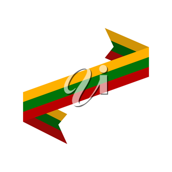 Lithuania flag ribbon isolated. Lithuanian tape banner. state symbol