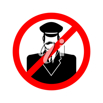 Stop doorman. Red prohibition sign. Ban tip