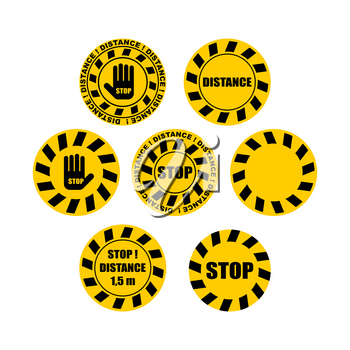 Sticker distance Warning sign. Keep your distance in line. Stickers for shops and public places. Coronavirus isolation mode. Quarantine from the virus. Pandemic.