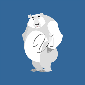 Polar Bear sad Emoji. Wild animal Arctic and Antarctic. sorrowful Emotion beast