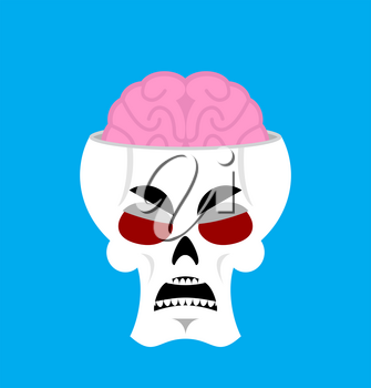 Skull and brain angry Emoji. skeleton head grumpy emotion isolated