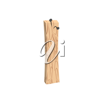 letter I wood board font. plank and nails alphabet. Lettering of boards. Country chipboard ABC
