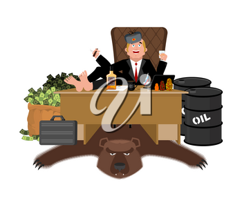 Russian oligarch sits at table and drinks whiskey. To smoke cigar. Rich man and bag of money. Businessman from Russia. Lot of cash. Office of moneybags. Bear skin and barrel of oil
