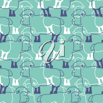Sheep pattern. ewe ornament. Flock of sheeps. Farm animal background. Texture for baby cloth