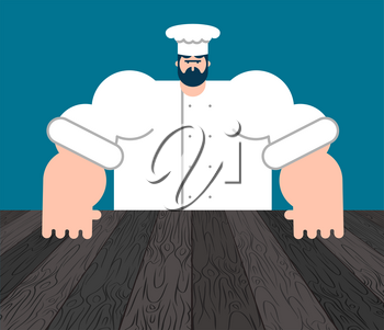 Chef and table. Template for restaurant. Vector illustration