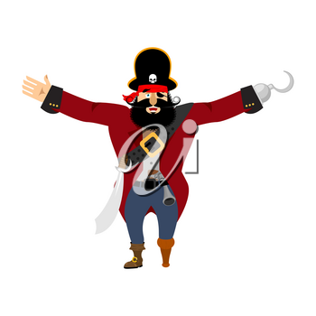 Pirate happy. filibuster merry. buccaneer cheerful. Vector illustration