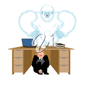 Businessman scared under table of yeti. To hide from to be eaten. frightened business man under work board. bigfoot . Boss fear office desk. Vector illustration