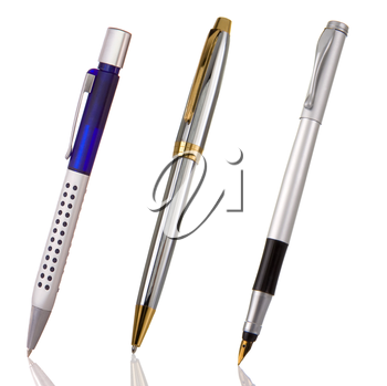 black, blue and silver shining pens isolated on white background