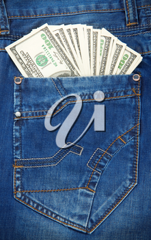 jeans pocket texture background and dollars