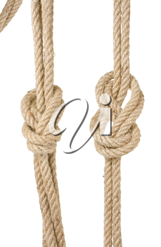 ship ropes with a knot isolated on white background