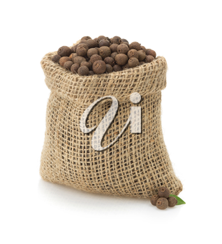 allspice in bag isolated on white background