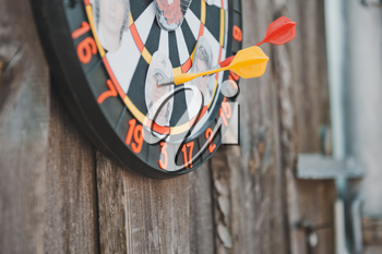 Game of a darts outdoors.