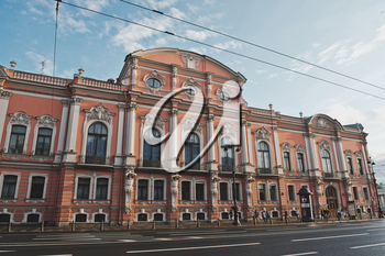 Features of infrastructure and facades on Nevsky Avenue of the city of St. Petersburg.