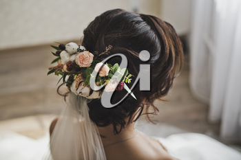 Hairstyle of the bride for the wedding.