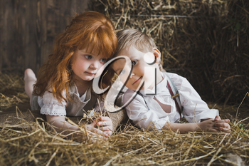 Redhead girl and boy playing with rabbit in the hay.
