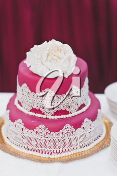 Wedding cake on the table.
