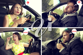 comics with humor about a man and a woman driver