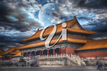 Forbidden City is the largest palace complex in the world. Located in the heart of Beijing. In the evening by the light of the moon