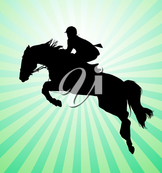 Carrying out horse with horseman vector