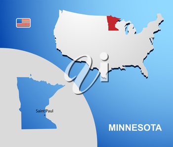 Minnesota on USA map with map of the state