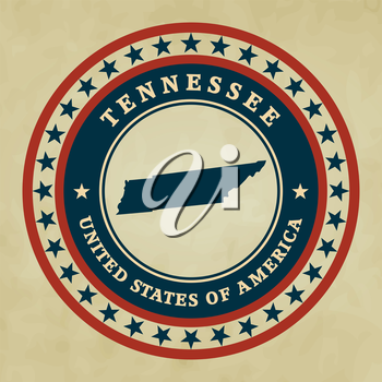 Vintage label with map of Tennessee, vector