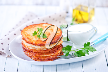potato pancakes on plate and on a table