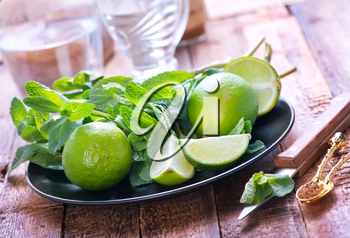 mint and fresh limes on the plate