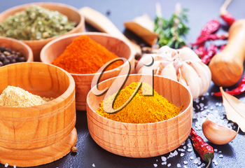 aroma spices in wooden bowl and on a table