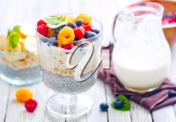 Chia pudding with fresh berries in the glass