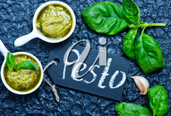 pesto in bowl, fresh sauce, stock photo