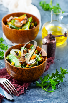 fried mix vegetables in bowl and on a table