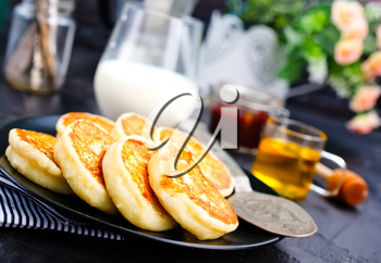 cottage pancakes on plate, baked pancakes, stock photo