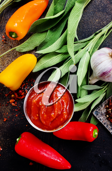 sauce with chilli peppers and aroma spice