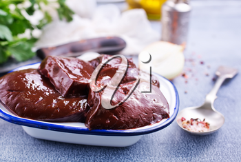 raw liver with aroma spice and salt on plate