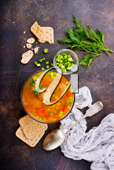 fresh soup with vegetables and meat balls