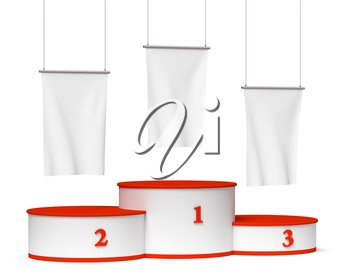 Sports winning and championship and competition success symbol - round sports pedestal, winners podium with empty red first, second and third places and blank white flags, 3d illustration, isolated, d