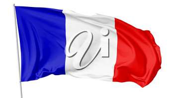 National flag of French Republic (France) with flagpole flying in the wind and waving, isolated on white background, 3d illustration