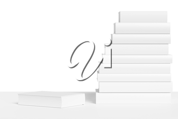 White bookshelf with stack of white books isolated on white background, colorless bleached 3D illustration