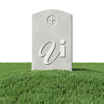 Gray blank gravestone on green grass field graveyard in memorial day under sun light isolated on white background 3D illustration